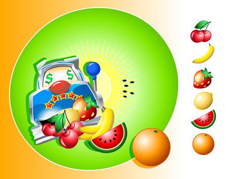jackpot: illustration vectorielle de la machine � sous de casino avec des fruits isol�s