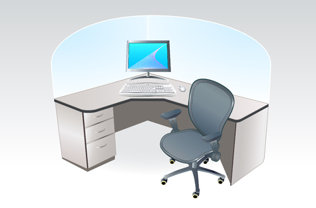 working place: vector illustration of the typical working place cubicle