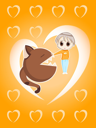 vector illustration of little shy girl with big neko (cat) in love Stock Vector - 2158170