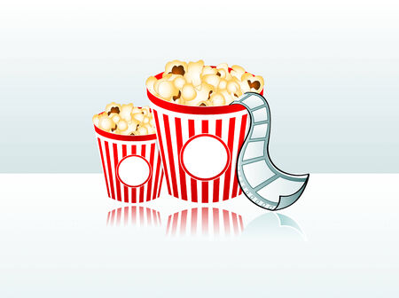cinematic: vector illustration of two popcorn buckets with film strip