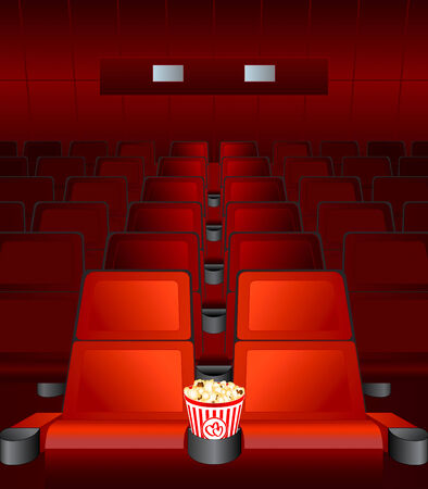 empty chairs inside movie cinema with highlighted love-seat Vector