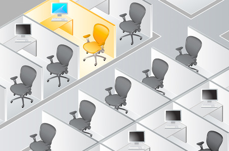 office cubicle: vector illustration of the cubicle rows with the special one