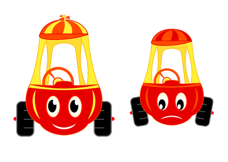 vector illustration of happy and unhappy child toy-cars Stock Vector - 2230888