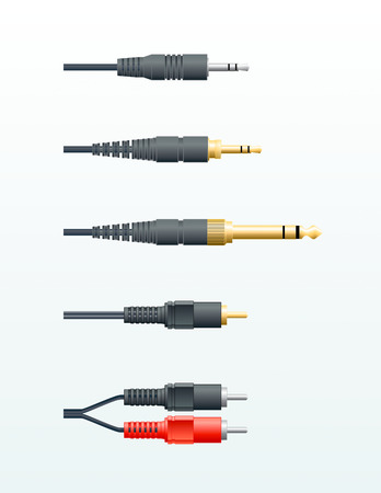 different types of audio cables in vector