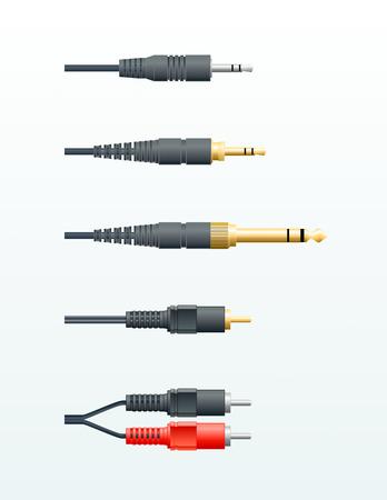 highend: diversi tipi di cavi audio in vettoriale