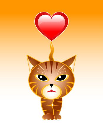 striped cat walking with the heart on his tail Stock Vector - 2341381
