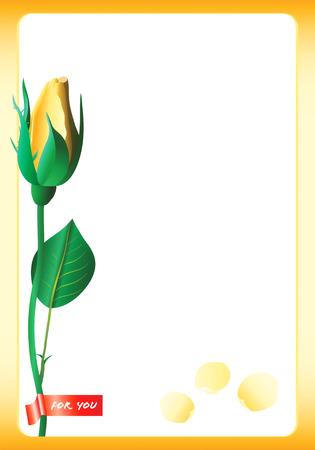 상세한 노란 장미와 카드의 벡터 일러스트 레이션