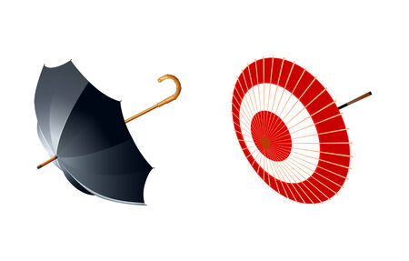vector illustration of eastern and western type of umbrellas Vector