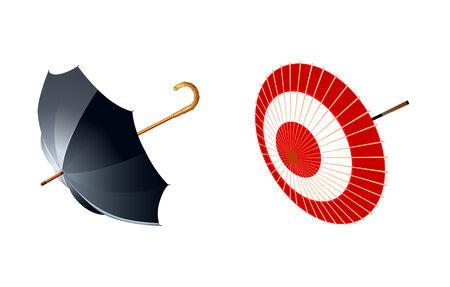 soak: vector illustration of eastern and western type of umbrellas