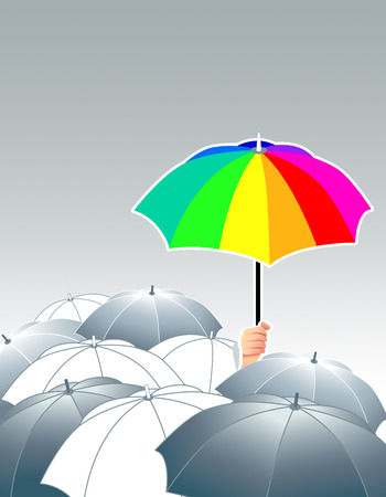 rainbow umbrella: vector illustration of rainbow umbrella above of gray ones
