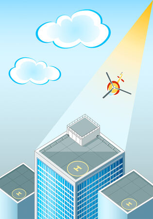 helicopter pad: vector illustration of the helipads at the skyscrapers rooftop
