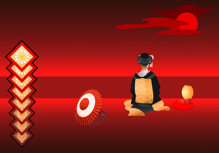 moody: vector illustration of lonely geisha under the red moon