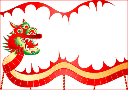 chinatown: vector illustration of dancing dragon in chinese New Year Illustration