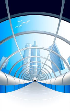 aerial animal: vector illustration of modern glass enter tunnel