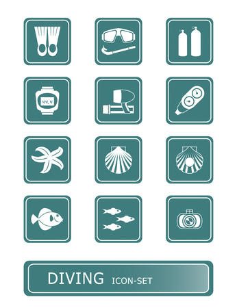scuba diving and underwater vector icon-set