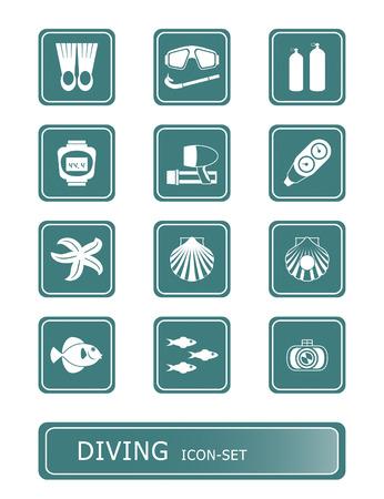 schnorchel: Tauch-und Unterwasser-Vektor-Icon-Set