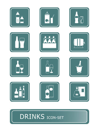carbonated: traditional non- and alcoholic drinks vector icon-set Illustration