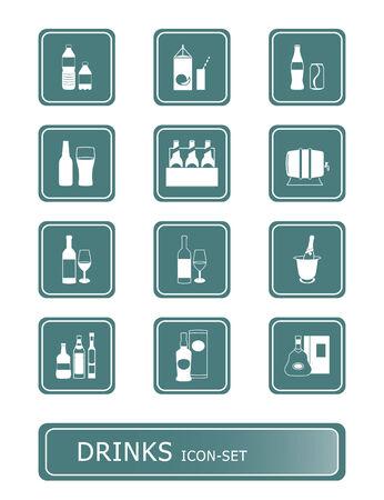 alcoholist: traditionele en niet-alcoholische dranken vector icon-set Stock Illustratie