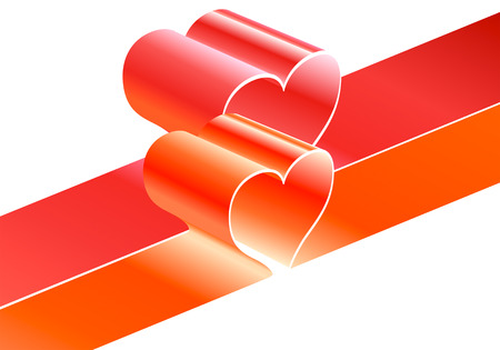 bright red ribbons with heart shapes in vector Stock Vector - 2466251