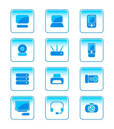 hands free phone: la electr�nica moderna oficina vector-set icono en azul