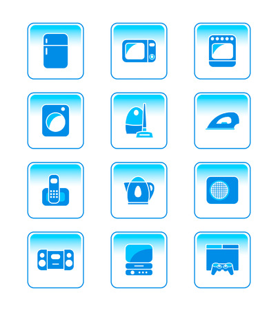 playstation: modern home electronics icon-set in blue
