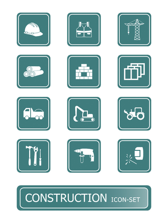 icon set for construction tools, transportation, materials and so on Illustration