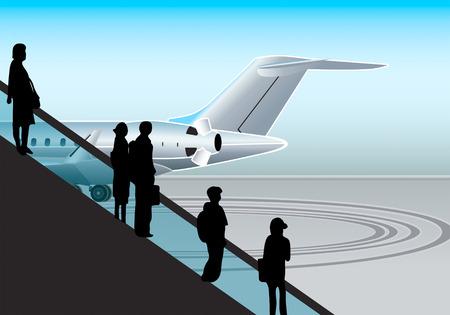 overnight: illustrazione vettoriale silhouttes di persone presso l'aeroporto della scala mobile.  Vettoriali