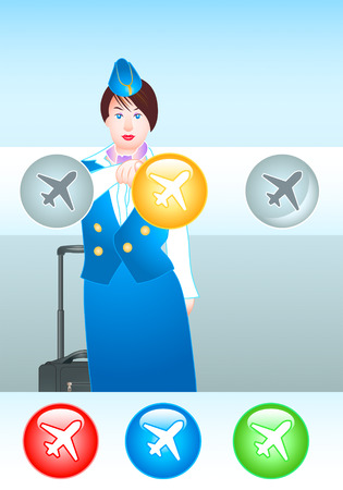 beautiful stewardess pointing at the right plane (you can choose the colors too) Vector