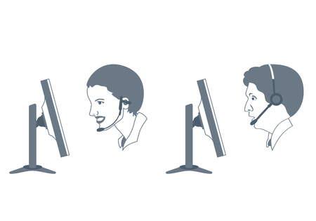 callcenter: illustration of woman and man call-center operators at work