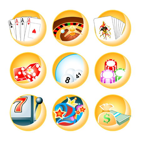luck wheel: icon for casino games: roulette, poker, blackjack, keno, slot, videopoker