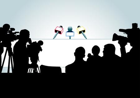 rueda de prensa: ilustraci�n vectorial de los medios de comunicaci�n la gente lista para la conferencia de prensa (una a cada persona se encuentra en la capa separada).
