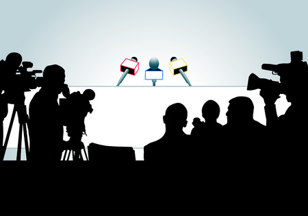 press conference: vector illustration of media people ready for press conference (an each person is on the separate layer). Illustration