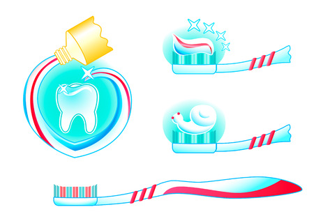paste: teeth, tooth paste and tooth brush in three colored vector Illustration