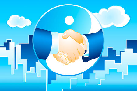 megapolis: businessmen handshake on the modern megapolis background in blue vector