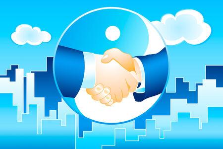 business meeting asian: hommes d'affaires poign�e de main sur la m�gapole moderne en arri�re-plan bleu vecteur  Illustration