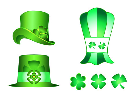 different types of leprechaun hats and clovers for St.Patrick day Stock Vector - 2679986