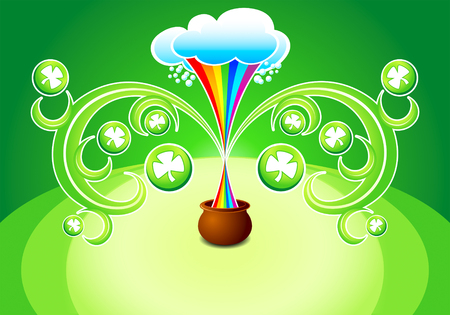 magic pot with decorated clovers for St.Patricks day Vector