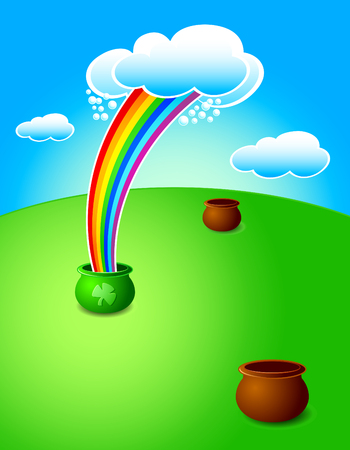 lucky magic pot with rainbow among the common ones at St.Patricks day Vector