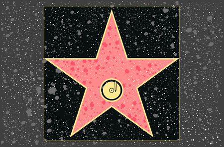 famous industries: hollywood walk of fame: recording star in vector Illustration