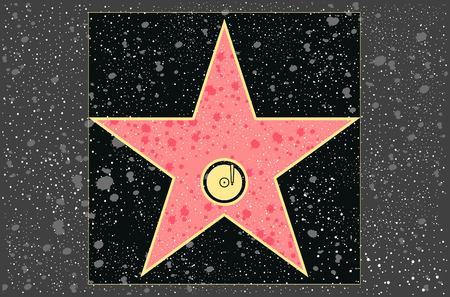 walk of fame: hollywood walk of fame: recording star in vector Illustration
