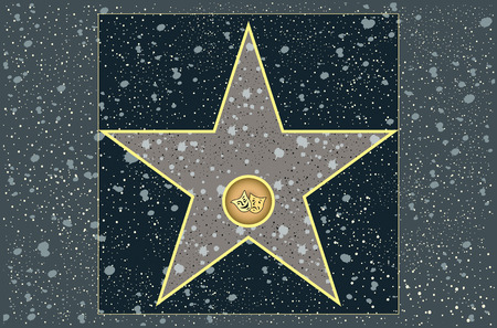 hollywood: hollywood walk of fame: live theater star in vector Иллюстрация