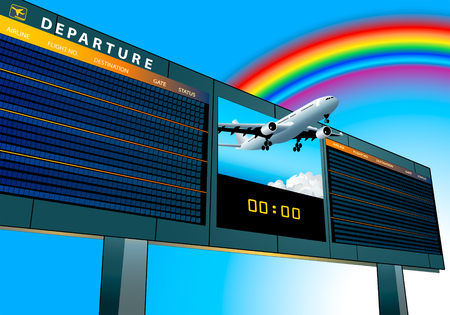 terminal: empty airport departure board with airplane flying to the rainbow