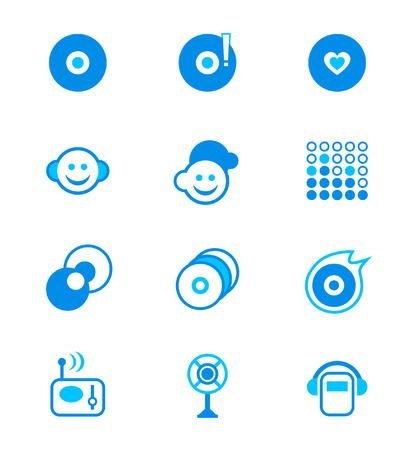 vector icon set for music portal in blue Vector