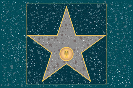 hollywood walk of fame: broadcast radio star in vector Illustration