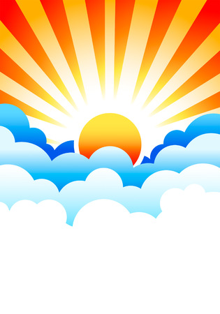 Bright sun rising in stylized blue clouds Vector