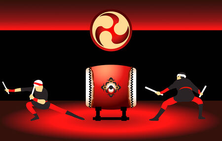 Two japanese taiko drummers at the bright red scene Illustration