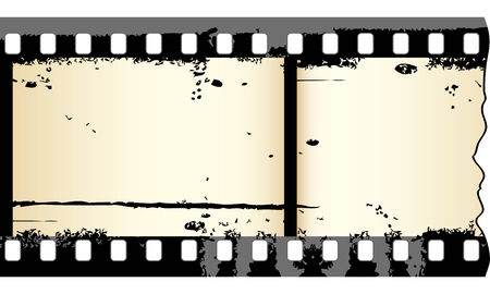 film history: Two frames of grungy film strip in editable vector Illustration