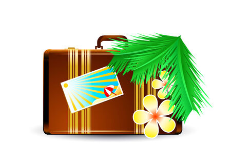 overnight: Travel suitcase at the sunny beach interior Illustration