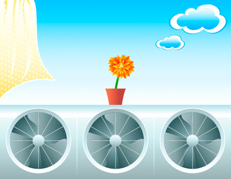 Concept illustration for fresh life with air conditioners Stock Vector - 2793053