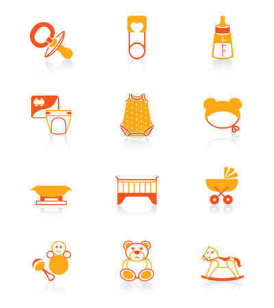 pampers: Newborn and first years  objects vector icon set in orange